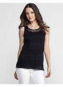 Scoop Neck Tank in Fine Gauge Linen Shadow Stripe