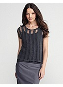 Scoop Neck Cap-Sleeve Box-Top in Open Linen Cord Sheen