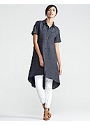 Classic Collar Short-Sleeve Knee-Length Shirtdress in Washed Linen Delave