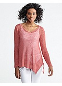 Plus Size V-Neck Top in Airy Linen Grain Rib