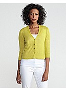 V-Neck 3/4-Sleeve Cropped Cardigan in Lightweight Fine Gauge Linen