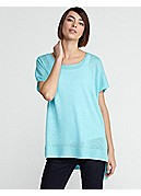 Plus Size Scoop Neck Tunic in Lightweight Fine Gauge Linen