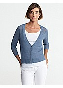 V-Neck 3/4-Sleeve Cropped Cardigan in Fine Gauge Linen Mesh