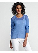 Petite Scoop Neck Raglan-Sleeve Top in Fine Gauge Linen Mesh
