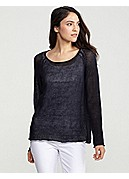 Scoop Neck Raglan-Sleeve Top in Fine Gauge Linen Mesh