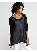V-Neck 3/4-Sleeve Tunic in Fine Gauge Linen Mesh