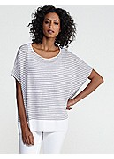 Petite Bateau Neck Short-Sleeve Box-Top in Lightweight Linen Stripe