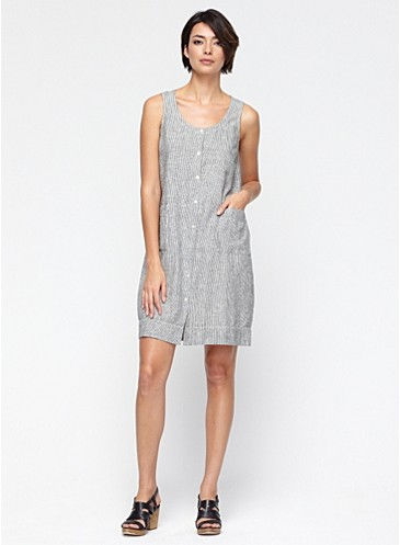 Scoop Neck Knee Length Dress In Hemp And Organic Cotton