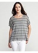 Scoop Neck Short-Sleeve Box-Top in Multi-Stripe Micromodal