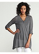 Split Neck Roll-Sleeve Top in Heathered Micromodal