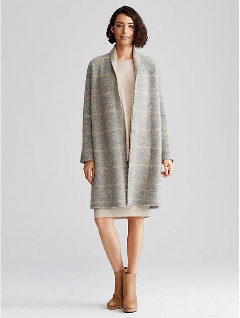 Mohair Plush Melange Windowpane Coat