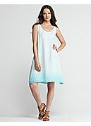 Scoop Neck Dress with Slip in Ombre Linen Gauze