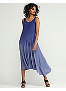 Scoop Neck Drop Waist Full-Length Dress with Slip in Ombre Silk Crepe de Chine