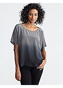 Plus Size Round Neck Short-Sleeve Top in Ombre Crepe de Chine