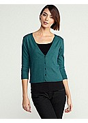 V-Neck Cropped Cardigan in Organic Cotton & Cashmere