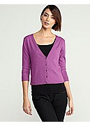 Plus Size V-Neck Cropped Cardigan in Organic Cotton & Cashmere