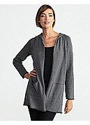 Hooded Raglan-Sleeve Cardigan in Plaited Organic Cotton