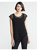 Scoop Neck Cap-Sleeve Tunic in Sheer Cotton Mesh