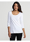 U-Neck Slim Top in Organic Cotton Baby Rib