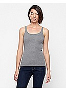 Plus Size Scoop Neck Long Slim Tank in Organic Cotton Baby Rib
