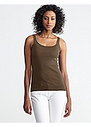 Petite Scoop Neck Long Slim Tank in Organic Cotton Baby Rib