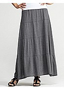 Plus Size Tiered Maxi Skirt in Silk Cotton Jersey
