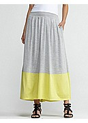 Plus Size Full-Length Skirt with Pleats in Silk Cotton Jersey