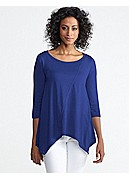 Plus Size Ballet Neck 3/4-Sleeve Top in Silk Cotton Jersey