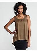 Petite Scoop Neck Tank in Silk Cotton Jersey with Silk Crepe de Chine