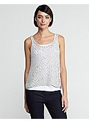 Petite Scoop Neck Tank in Sequin Chainmail Mesh