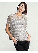 Petite Scoop Neck Cap-Sleeve Box-Top in Sequin Chainmail Mesh