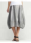 Calf-Length Lantern Skirt in Glimmer Linen Stretch