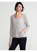 Petite Scoop Neck Raglan-Sleeve Box-Top in Speckled Cotton Knit