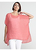 Ballet Neck Short-Sleeve Boxy Tunic in Pinstriped Linen Gauze