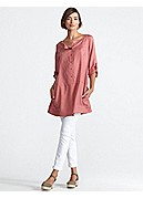 Plus Size Ballet Neck Knee-Length Shirtdress in Sandwashed Silk Twill