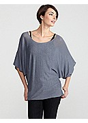 Plus Size Bateau Neck Elbow-Sleeve Tunic in Superfine Linen Knit