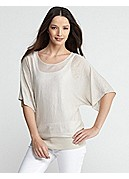 Petite Bateau Neck Elbow-Sleeve Tunic in Superfine Linen Knit