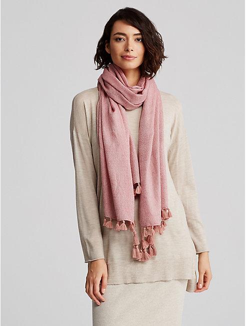 Cross-Dyed Wool Tassel Scarf