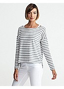 Wide Neck Box-Top in Melange Slub Stripe