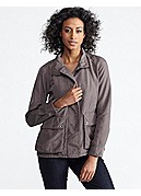 Stand Collar Jacket with 2-Way Zip in Cozy Cotton Satin