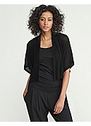 Cropped Short-Sleeve Kimono Cardigan in Rippled Tencel Knit