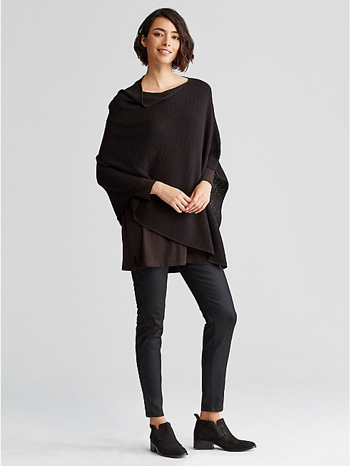 Washable Wool Crepe Jacquard Poncho