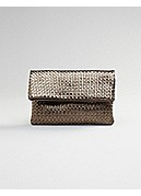 Foldover Clutch in Italian Leather Weave