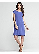 Bateau Neck Cap-Sleeve Knee-Length Dress in Viscose Jersey