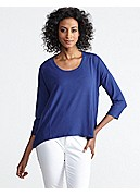 Petite U-Neck Dolman 3/4-Sleeve Top in Viscose Jersey