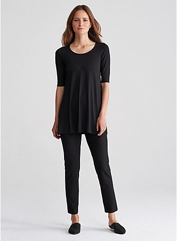 Sale alerts for Eileen Fisher Scoop Neck Long Tunic with Elbow Sleeves in Viscose Jersey - Covvet