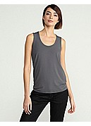U-Neck Shell with Tapered Hem in Viscose Jersey