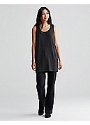 U-Neck Long Wedge Shell in Cozy Viscose Stretch Jersey