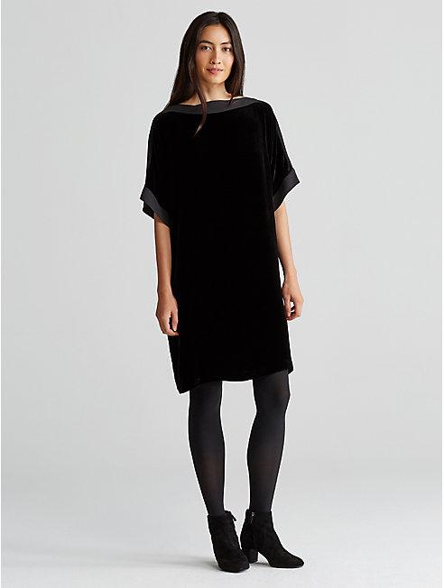 Velvet and Silk Trim Dress