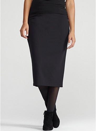 calf length pencil skirt in viscose stretch ponte